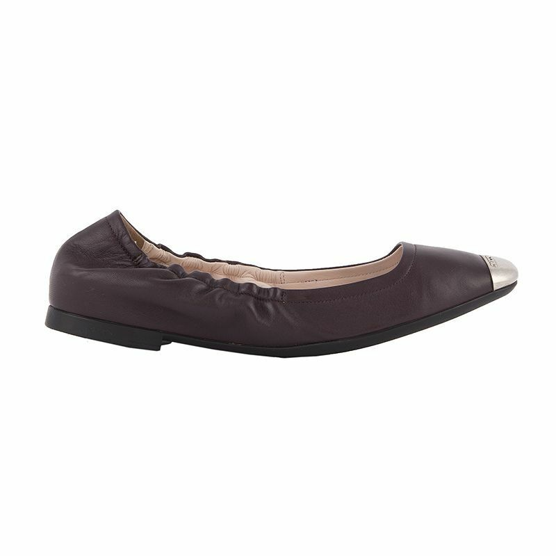 52676 auth BALLY eggplant leather & silver Ballet Flats Ballerinas shoes 37