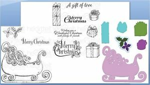 Heartfelt Creations Stamp/DieCombo ORNATE SLEIGH & PRESENTS Celebrate the Season