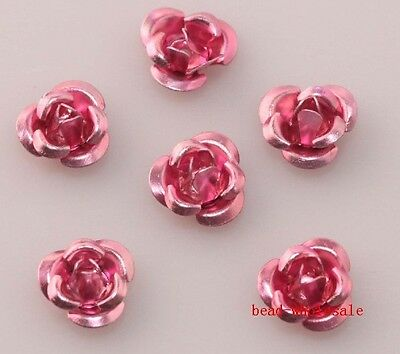 Wholesale 100pcs Rose Flower Aluminum Jewelry Making Spacer For Bracelet DIY