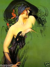 Art Nouveau Poster//Art Deco Print//Rolf Armstrong//Dream Girl in Slinky Gold Dress