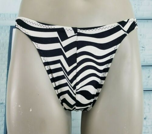 Vintage Swimsuit Thong by Jacque Black White Spand