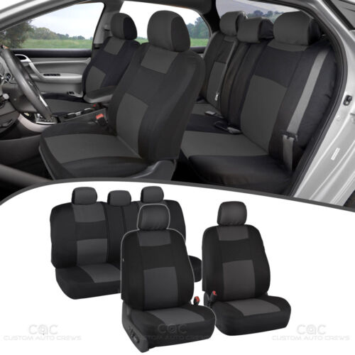 Charcoal Gray Car Seat Covers for Sedan SUV Truck Set Split Bench Zippers
