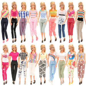 10-Sets-Barbie-Dolls-Outfit-Handmade-Casual-Clothes-Trousers-10-Shoes-Xmas-Gift