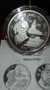 Münze 999er Silber, 155,5g, China, 50 Yuan, Marco Polo, 1993, PP mit Zertifikat!