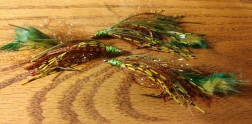 Size 1//0 HOT*** Per 3 NEW! Bass Crawler OLIVE//Brown-multi Holographic head