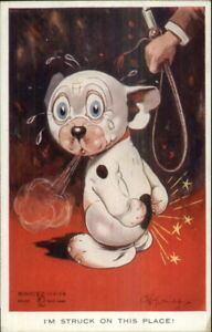 GE-Studdy-Bonzo-Fantasy-Dog-Series-Postcard-jrf-STRUCK-w-WHIP