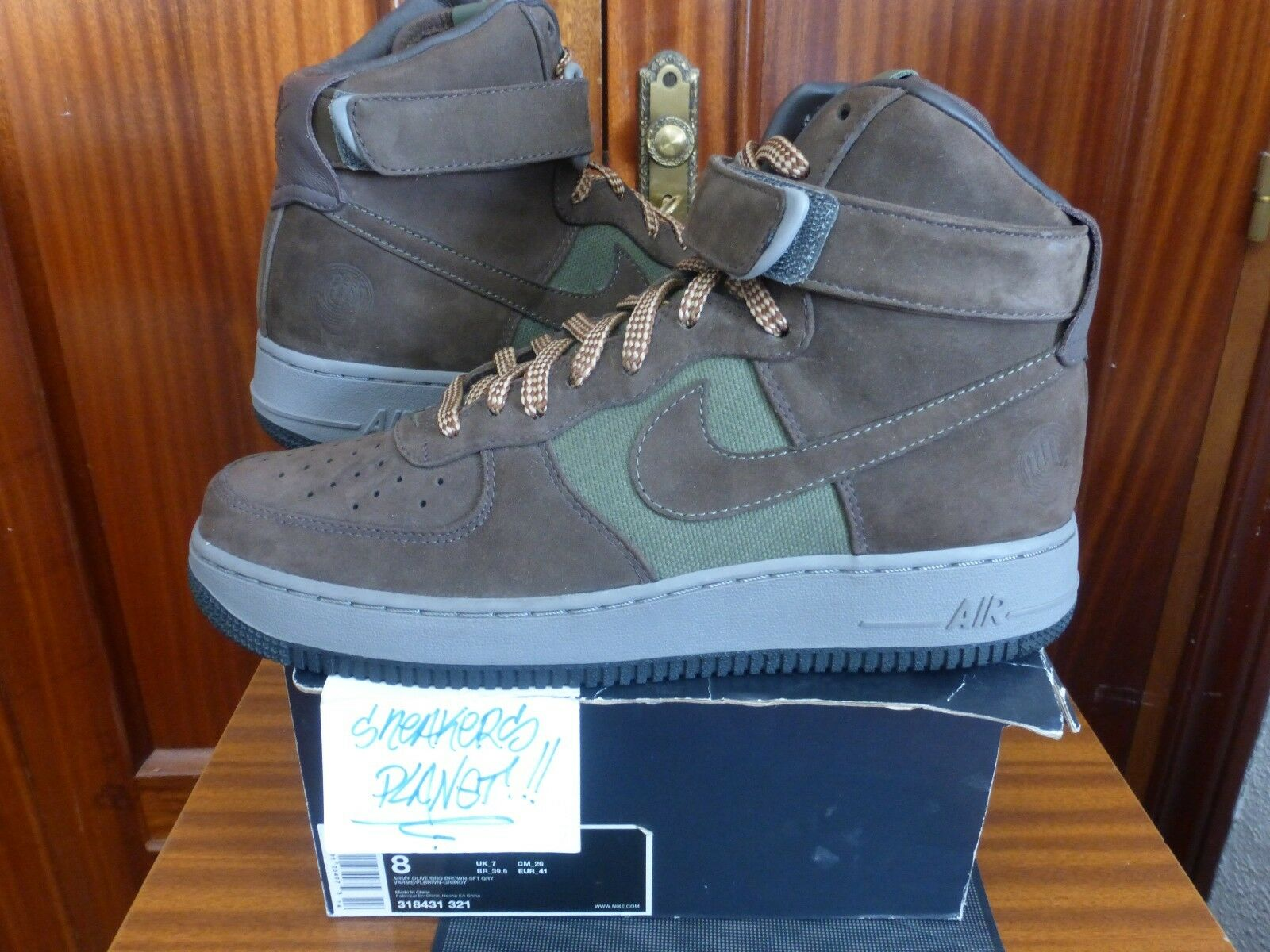 2007 DS  NIKE AIR FORCE 1 HI PREMIUM BOBBITO GARCIA OLIVE BROWN US 8 low ny
