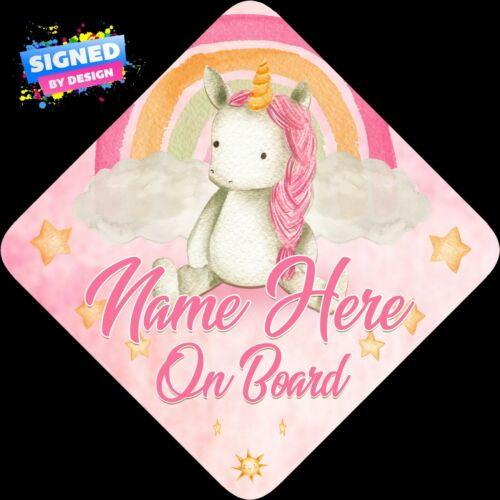 Watercolour Personalised Baby Unicorn Floral Child//Baby on Board Car Sign New