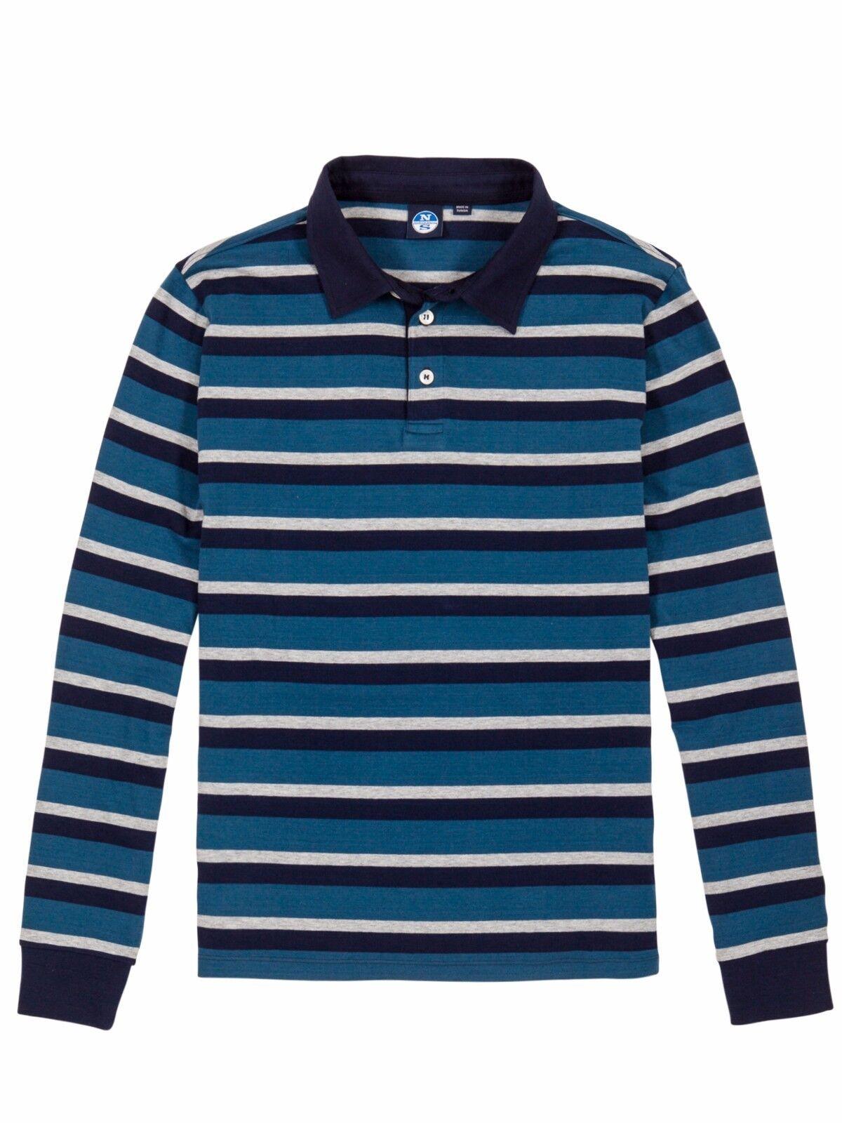 Maglia Polo da uomo blu a righe manica lunga North Sails casual moda bottoni