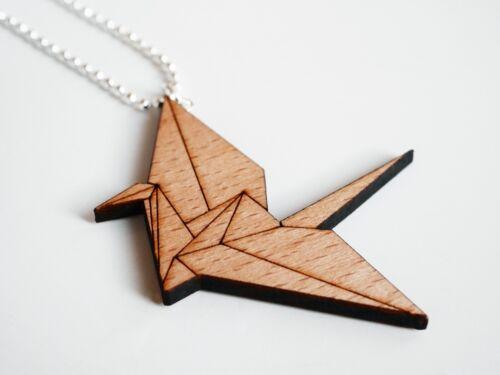 Collar de madera origami remolque Grulla