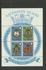 ASCENSION ISLAND 1973  Royal Naval Crests   umm / mnh miniature sheet