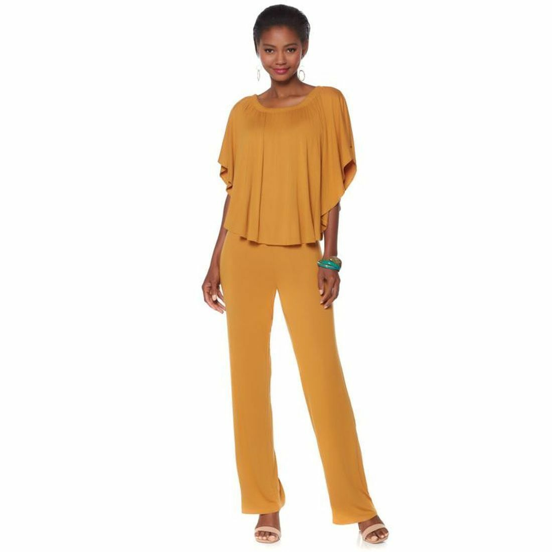 Antthony The golden Sun Off-Shoulder Jumpsuit stretch jersey gold 1Xplus size
