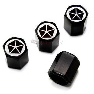 4 Chrysler Pentastar Dodge Old Logo Black Tire Wheel Air
