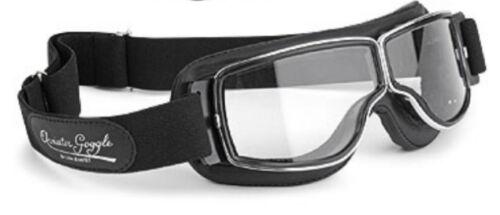Occhiali MOTO AVIATOR t2 Classic Pelle Nero Occhiali Bicchieri chiaro quadro cromo