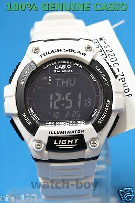 W-S220C-7B 120 White Black Lap Memory Casio Watch Tough Solar Sporty Digital New