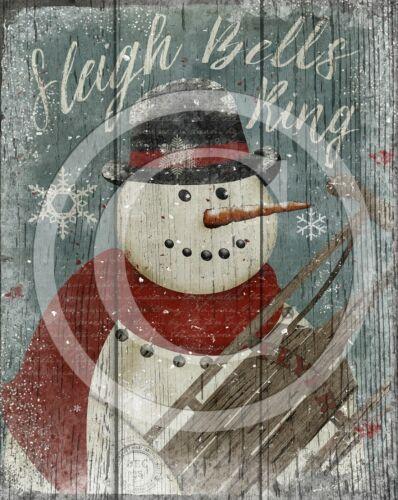 Primitive Snowman Sleigh Bells Ring Christmas Winter  8x10 Print Laser Printed