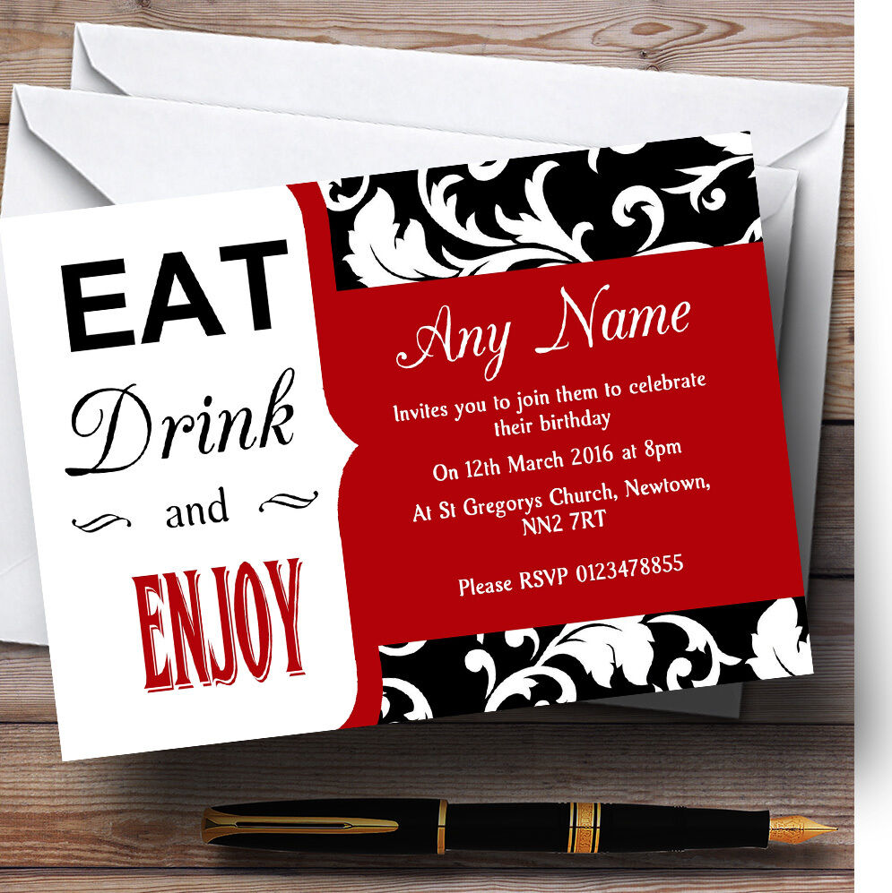 Rich ROT Vintage Damask Drink Eat Personalised Birthday Party Invitations A7c169