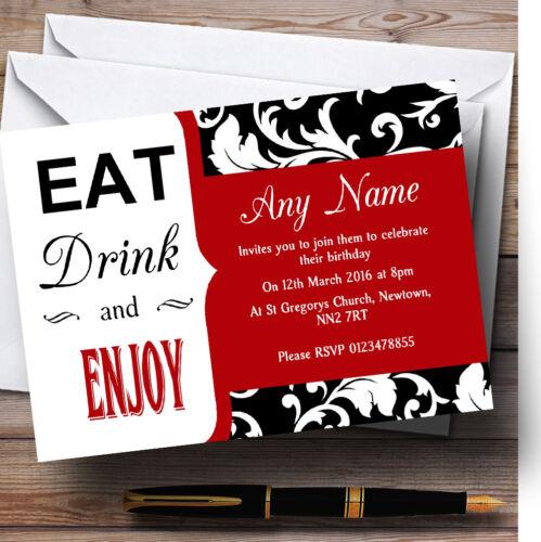 Rouge vif vintage damassé Eat drink Personnalisé Fête D/'Anniversaire invitations