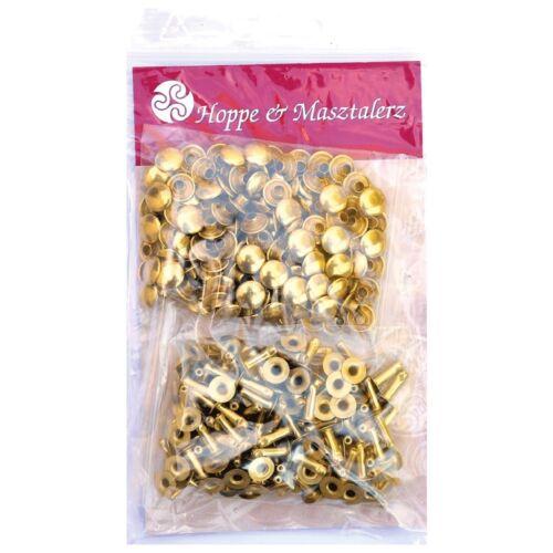 nickelfrei 100 DOPPEL-HOHLNIETEN Nieten 11MM messing-glänzend goldfarben