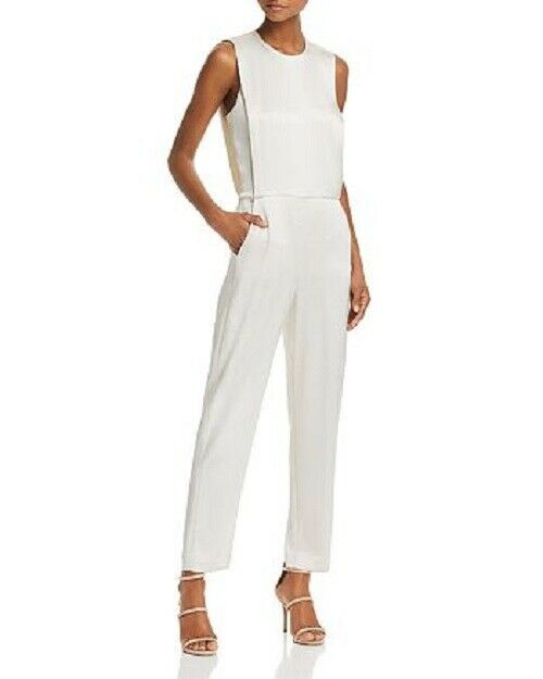 THEORY Off White Spiaggia Remaline Stretch Suiting Tapered Pants Jumpsuit 12 L