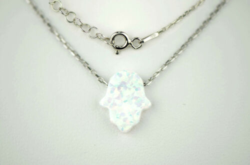 Sterling Silver Hamsa Opal Evil Eye Hand Pendant with Necklace