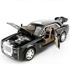 1-24-Rolls-Royce-sweptail-Diecast-Modelo-Coche-luz-sonido-friccion-juguete-Nuevo-Negro
