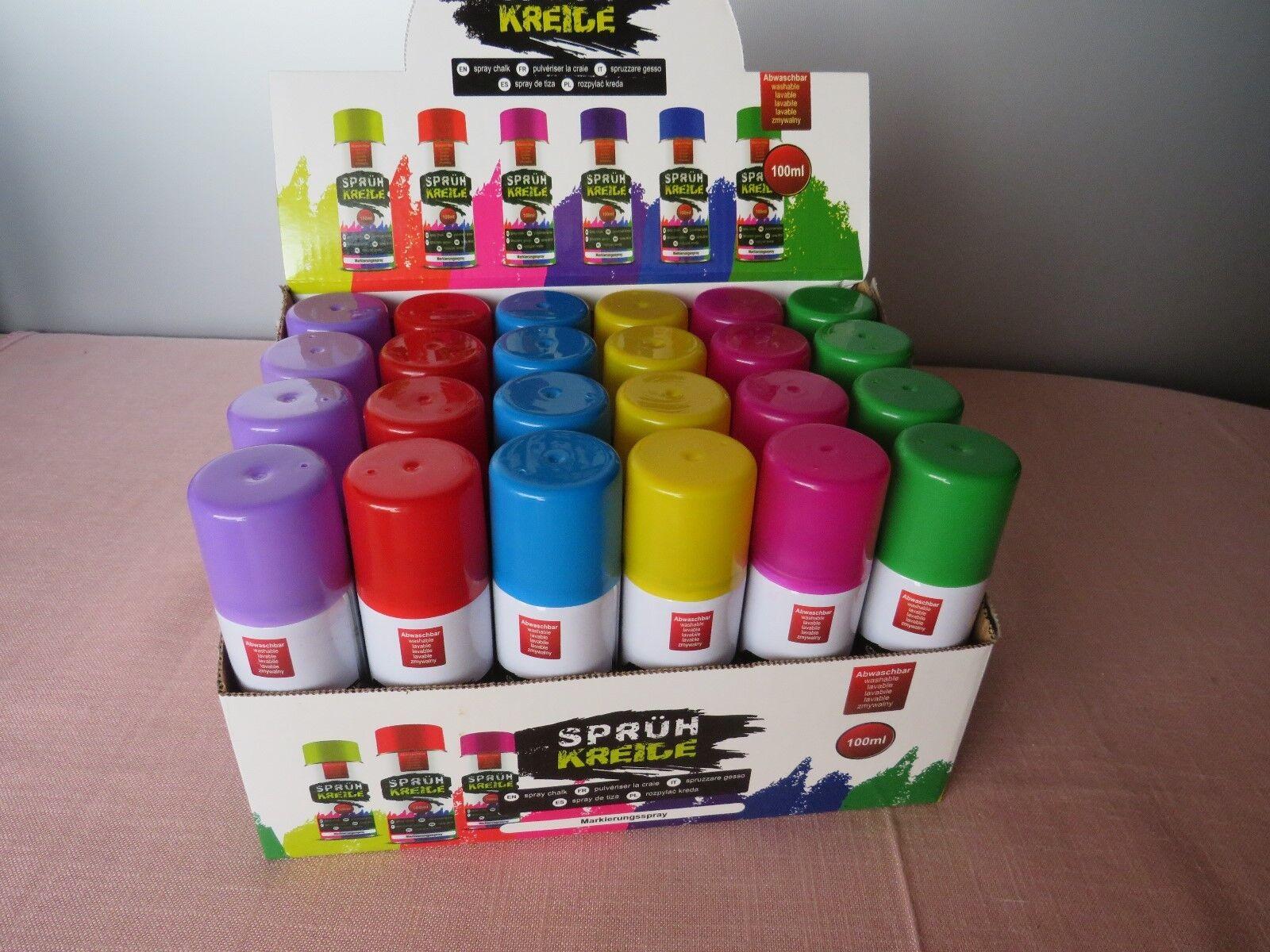 6 X  Flaschen Sprühkreide Straßenkreide mit Sprühkopf wasserlöslich