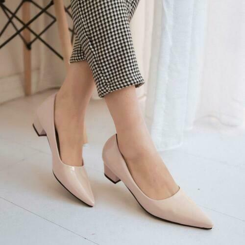 Women Fashion Pointy Toe Slip On Pumps Block Heel Patent Leather Shoes Solid Hot