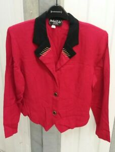 Size 10 Vintage 12 American Unique Red Black ricamato Jacket Dettaglio Collar Oro xqOgwTzx