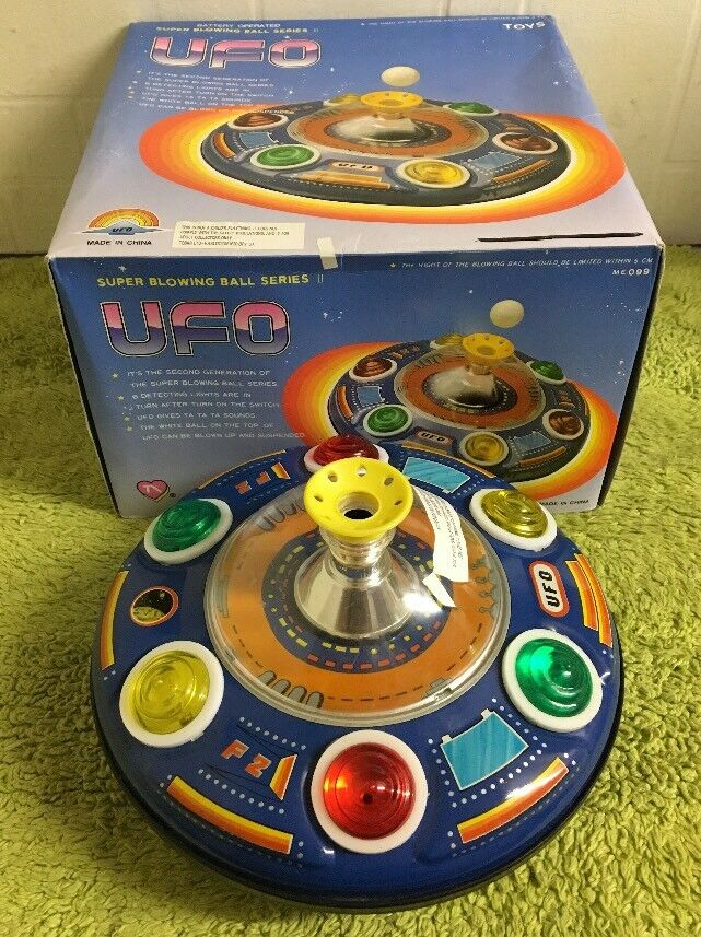 UFO SUPER BLOWING BALL BALL BALL SERIES II TIN PLATE SPACE CRAFT TOY 1970s BOXED a9a509