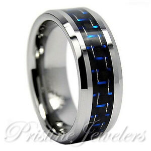 Image Is Loading Tungsten Carbide Blue Black Carbon Fiber Ring Men