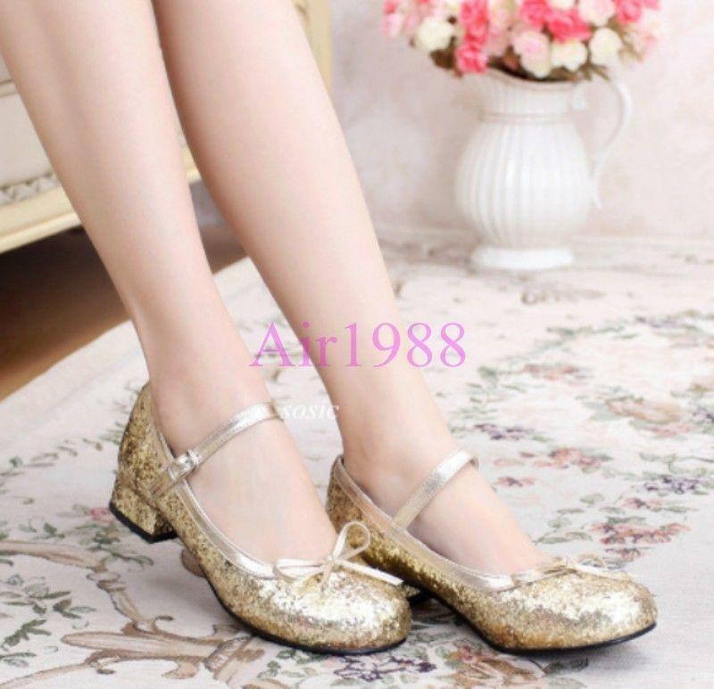 Womens Lolita Cute Bowknot Dance Prom Shoes Shoes Prom Bling Bling Ankle Low Heels Pumps sz c40eae