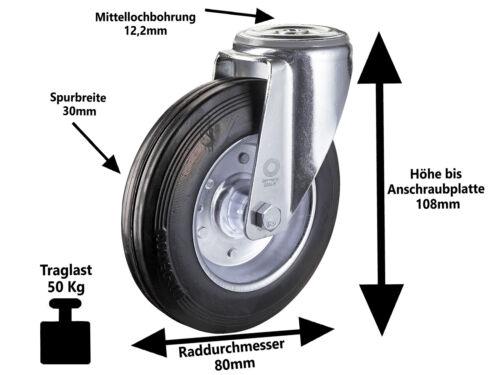 4 x Vollgummi Rückenloch Lenkrolle Transport Schwerlast Rolle Ø 80mm Lenk-Lenk