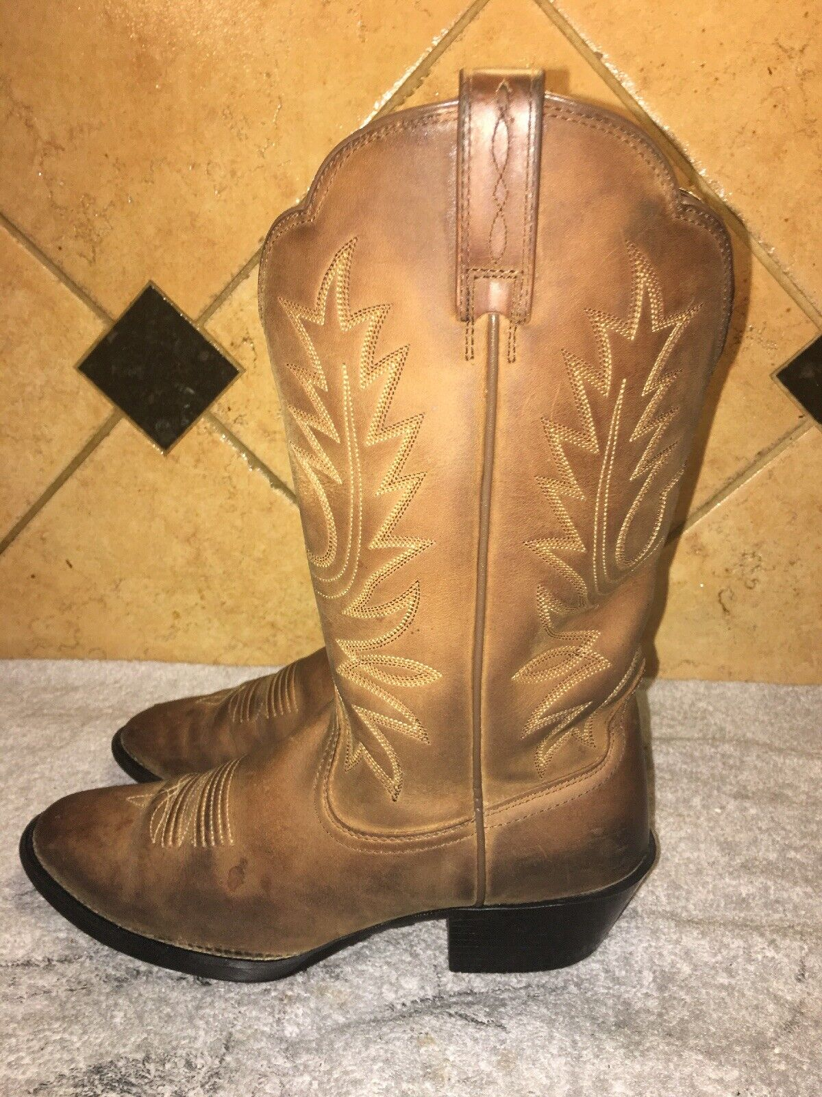 Ariat 15725 Brown Leather Cowboy Western Boots Sz 7.5 B