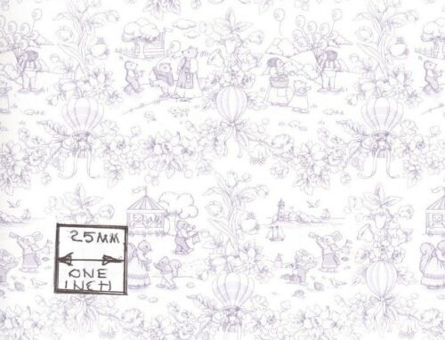 188D23 MiniGraphics  wallpaper dollhouse 1//12 scale Playland Toile Lilac