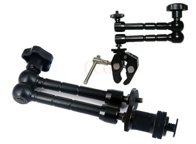 "11"" inch Articulating Magic Arm + Super Clamp LED light DSLR Rig LCD Monitor"