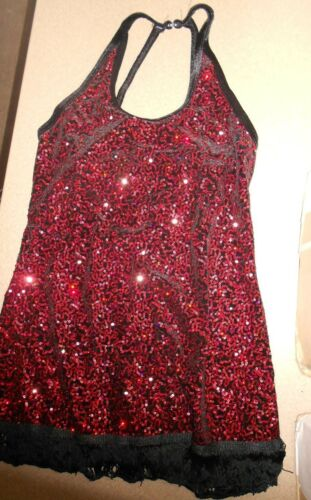 NWT Ballroom Sequin Halter Dress Fringe Hem 3 Color Ch//Ladies Dance Costume