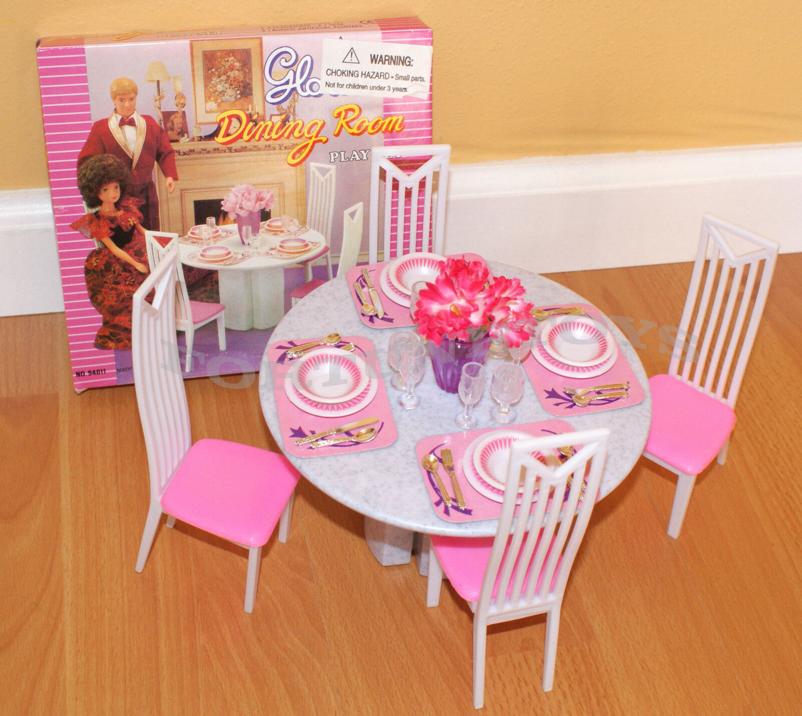 Barbie Sized Doll Dining Room Furniture 4 Chairs Tableware Dishes Table Play Set For Sale Online Ebay
