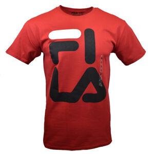 FILA-Men-039-s-T-shirt-Athletic-Sports-Apparel-FI-LA-Black-Bold-Logo-RED