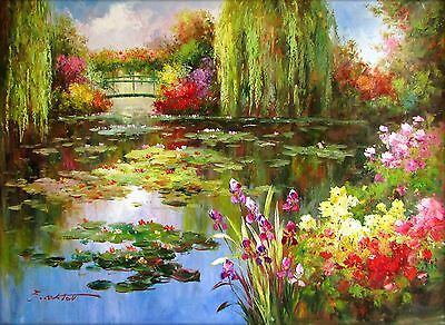 Claude Monet Colorful Water Lily Pond Repro 4, Hand Painted Oil Painting 36x48in