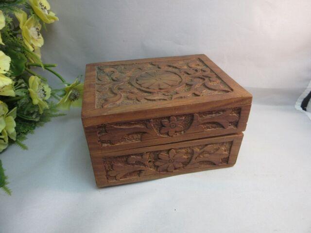 Vtg Ornate hand carved wood ,hinged jewelry trinket box.
