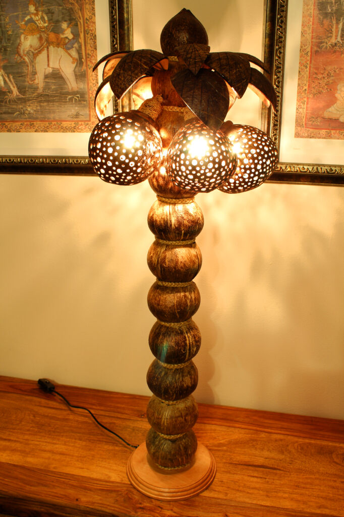 90cm XXL palme coco lámpara lámpara coco tailandia Coconut lámpara de de lámpara pie grande 47e2f1