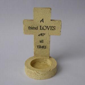 Resin-Stone-Effect-Cross-Tealight-Holder-A-Friend-Loves-Grave-Memorial-Ornament