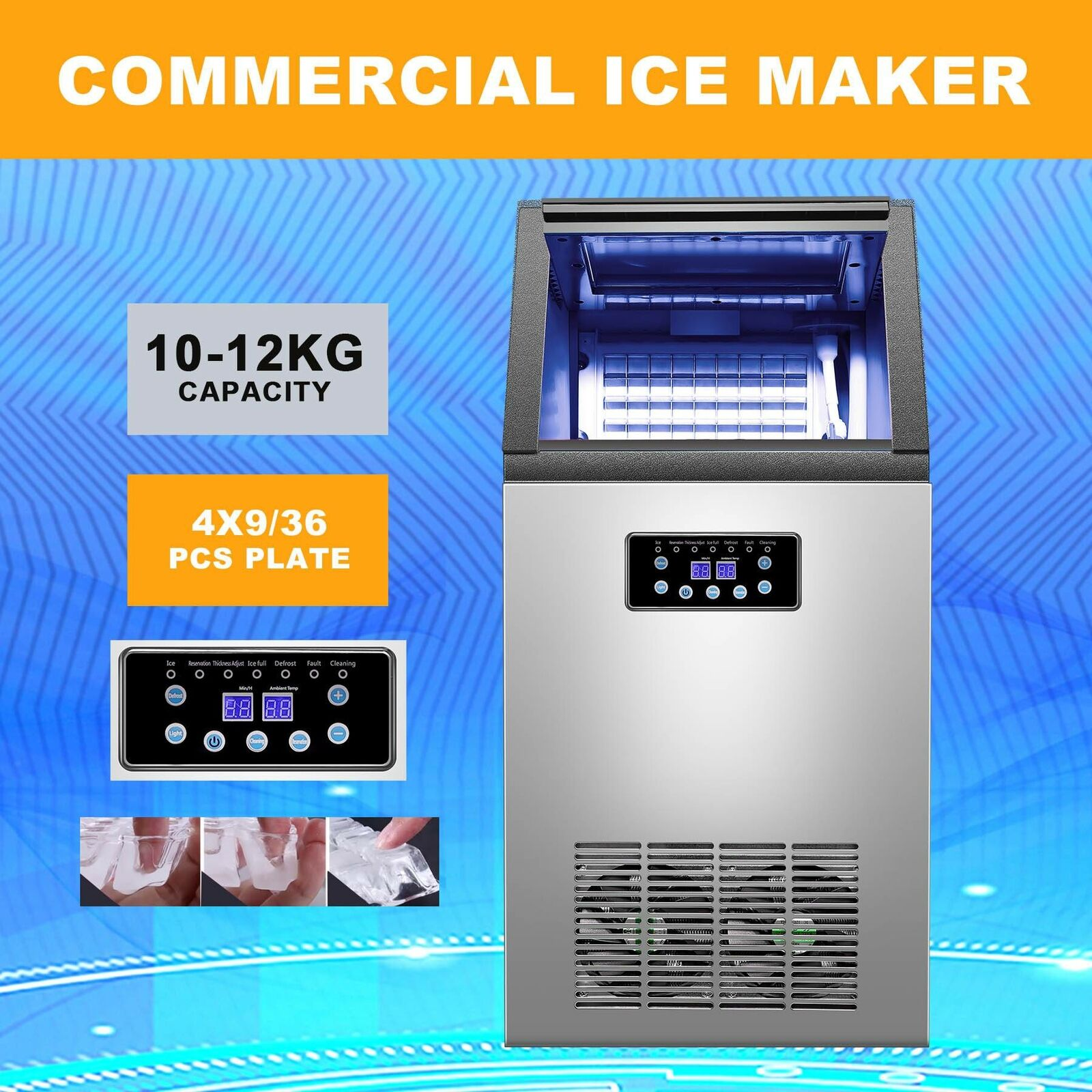 45KG//100LBS Intelligent Ice Cube Maker Machine Bars Snack Bars Refrigeration