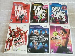 Just Dance, 2, 3, Black Eyed Peas, HS Musical 3, Zumba, Wii Lot 6 Games Tested