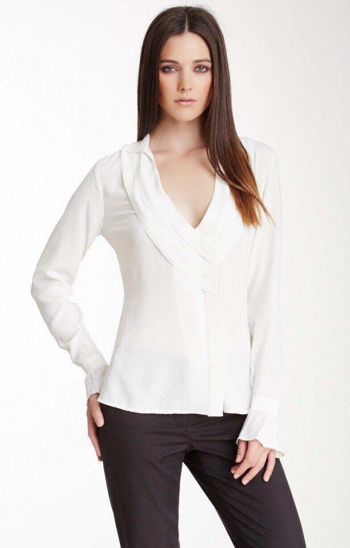 Rachel Roy- Lapel Natural White Silk Blouse Size XL New No Tag