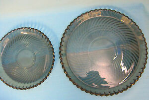 Smoky-Pressed-Glass-Dinner-amp-Salad-Plate-from-Canada-Diamond-Pattern
