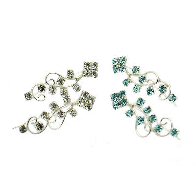 Ear Cuff Climber Pin Earrings Sterling Silver Aquamarine or Clear Crystal