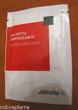ALITALIA salvietta rinfrescante sigillata nuova refreshing wipe white red green