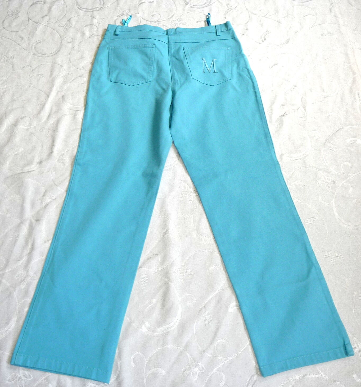 NUOVO Madeleine 20 corto 40 Jeans Turchese Pantaloni Jeans Pantaloni Cotone Denim Stretch New